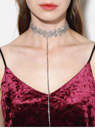 Hollow Out Rhinestone Lariat Choker Necklace
