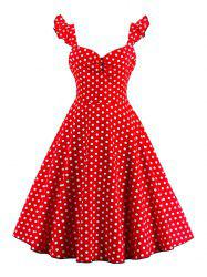 Polka Dot Buttoned Pin Up Rockabilly Swing Dress - RED L