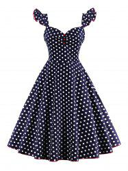 Polka Dot Buttoned Pin Up Rockabilly Swing Dress - PURPLISH BLUE
