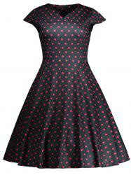 Vintage Polka Dot High Waist Flare Dress