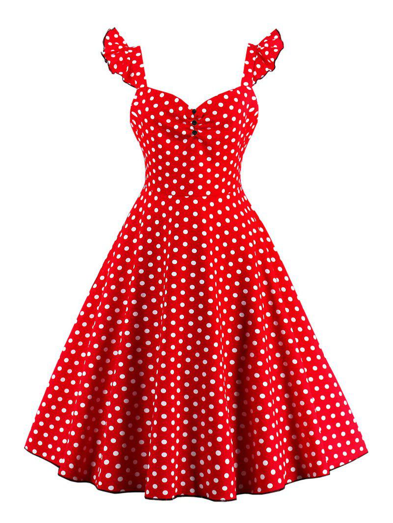 Chic Polka Dot Buttoned Pin Up Rockabilly Swing Dress