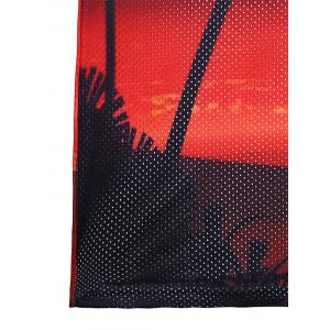 3D Coconut Tree Sunset Print Mesh Tank Top -