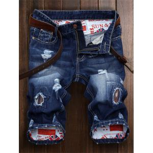 Patch Embellished Ripped Denim Jeans Shorts - Denim Blue - 34