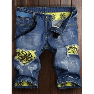 Tiger Pattern Ripped Denim Shorts