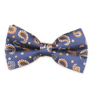 Vintage Paisley Embroidered Bow Tie - Deep Blue - S