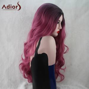 Adiors Long Wavy Gradient Middle Part Capless Synthetic Wig - BLACK/PINK