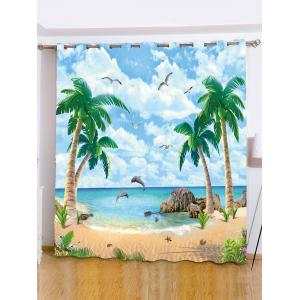 Beach Palm Tree Window Shading Blackout Curtain