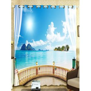 Shading Seascape Printed Window Curtain For Bedroom -