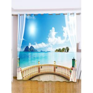 Shading Seascape Printed Window Curtain For Bedroom - Sky Blue - W59 Inch*l71 Inch