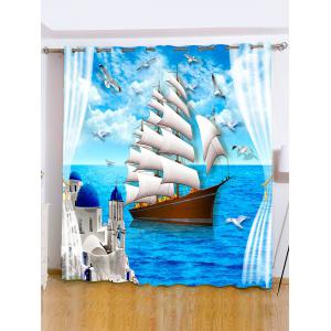 Ocean View Grommet Roller Window Curtain For Bedroom - Ocean Blue - W71 Inch*l71 Inch