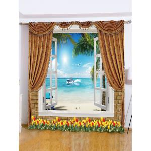 Sea View Printed Roller Blind Background Window Curtain