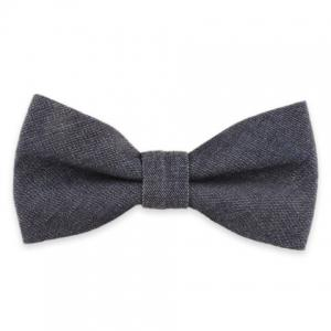Denim Fabric Double Deck Design Bow Tie - Purplish Blue - S