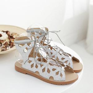 Slingback Metallic Lace Up Cut Out Sandals -