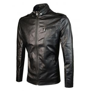 Epaulet Design PU Leather Jacket -