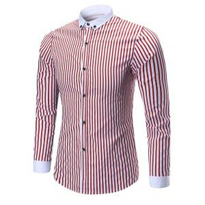 Button Down Vertical Stripes Shirt