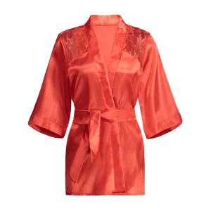Lace Panel Sleep Wrap Robe - Red - S