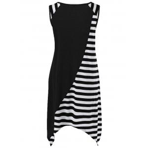 Striped Long Handkerchief Sleeveless Flowy T-Shirt - WHITE AND BLACK M