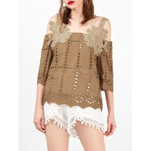 Openwork Embroidered Cold Shoulder Blouse