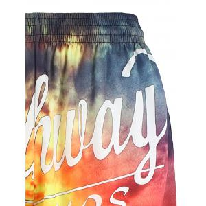3D Sunset Graphic Print Hawaiian Board Shorts - COLORMIX XL