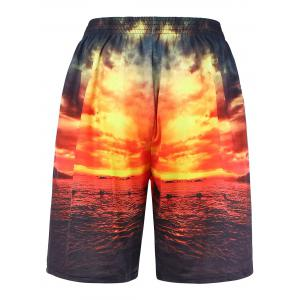 3D Sunset Graphic Print Board Shorts Hawaiian - Multicolore 2XL