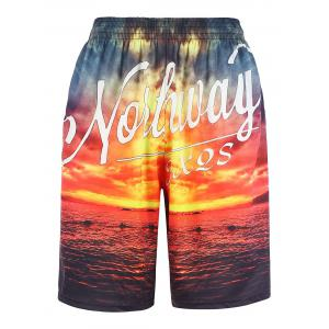 3D Sunset Graphic Print Board Shorts Hawaiian