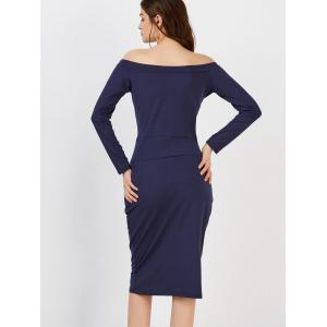 Long Sleeve Off The Shoulder Fitted Dress -