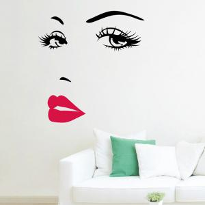 Red Lip Beauty Pattern Vinyl Wall Sticker - White - 43*52cm