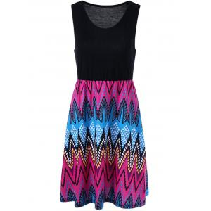 Sleeveless High Waist Graphic Dress