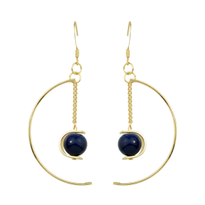Artificial Gem Bead Chain Circle Earrings - Blue
