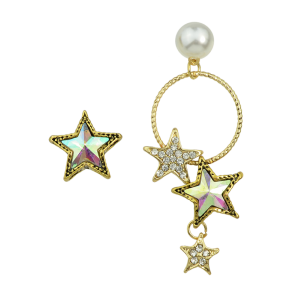 Asymmetric Faux Pearl Star Earrings - Golden