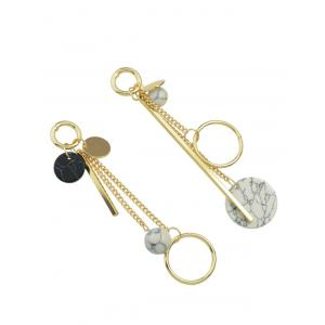 Asymmetric Circle Ball Disc Bar Earrings -