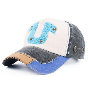 Towelling Character Patchwork Rivet Baseball Hat - Black - 3xl