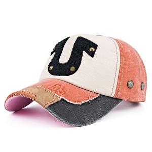 Towelling Character Patchwork Rivet Baseball Hat - Jacinth - 37