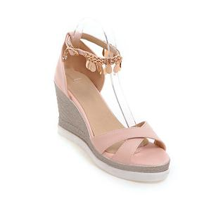 Wedge Heel Cross Strap Sandals - Pink - 39