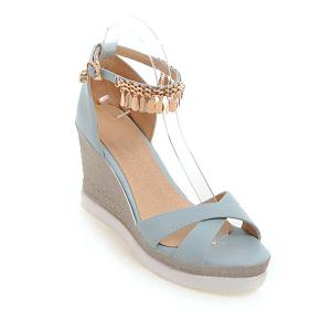 Wedge Heel Cross Strap Sandals - Blue - 39