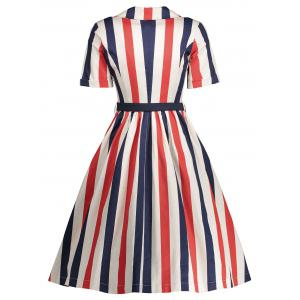 Midi A Line Stripe Vintage Shirt Dress - RED M