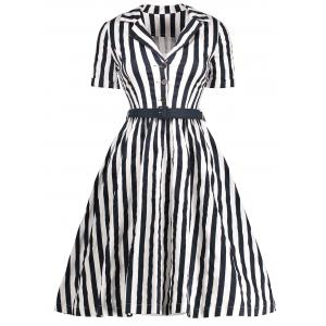 Midi A Line Stripe Vintage Shirt Dress - Black - L