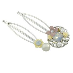 Rhinestone Faux Pearl Flower Hairpin Set - YELLOW
