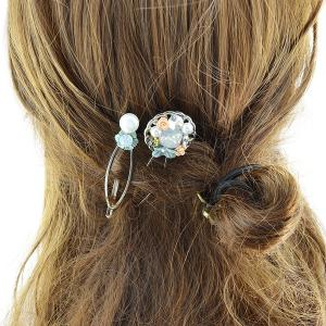 Rhinestone Faux Pearl Flower Hairpin Set
