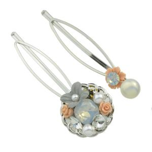 Rhinestone Faux Pearl Flower Hairpin Set - Orange