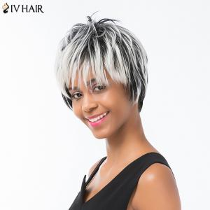 Siv Hair Pixie Colormix Short Side Bang Straight Layered Human Hair Wig - COLORMIX