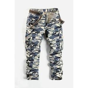 Camouflage Pattern Minitary Cargo Pants - Gray White Camouflage - 30
