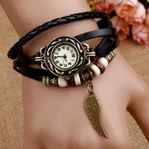 Vintage Angel Wing Braid Bracelet Watch - Black