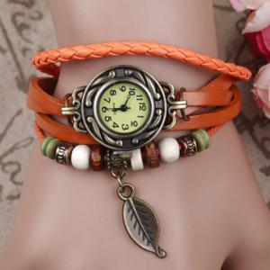 Vintage Tree Leaf Braid Bracelet Watch