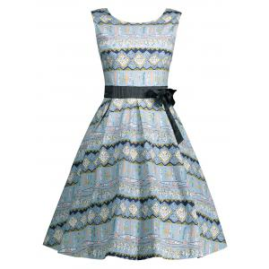 Vintage Bowknot Embellished A Line Dress