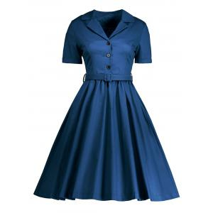 Shirt Collar A Line Vintage Dress