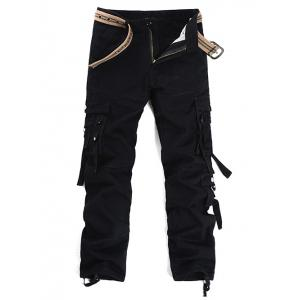 Metal Buckle Pockets Embellished Cargo Pants