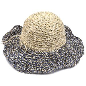 Color Block Beach Straw Fedora Hat with Flouncing -