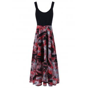 Plus Size Tie Dye Midi Casual Flower Dress - Red With Black - 2xl