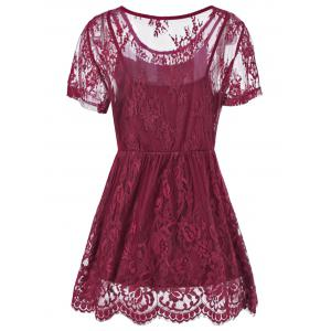 Plus Size Floral Lace Peplum Blouse - WINE RED 2XL